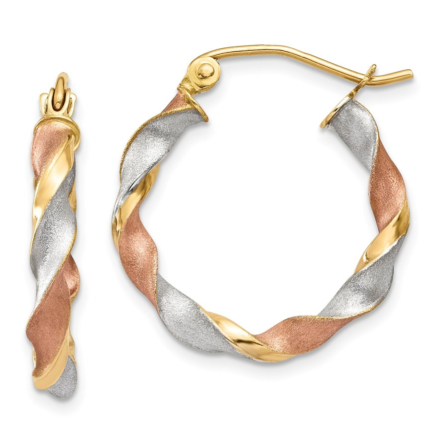 14k Solid Tri-Color Gold Satin Twisted Hoop Earrings - 4637A