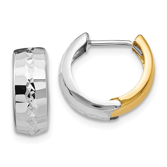 14k Solid Two-Tone Gold Textured Hinged Hoop Earrings