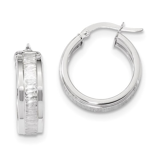 14k Solid White Gold Polished & Satin Hoop Earrings (21.91 mm)