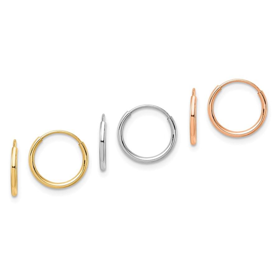 14k Tri Color 3-pair Hoop Earrings Set