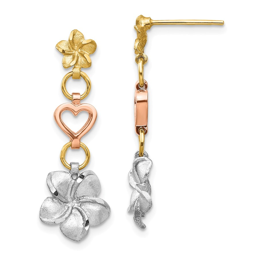 14k Tri-color Brushed & Polished Plumeria Dangle Post Earrings