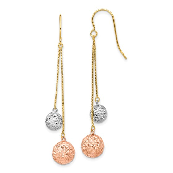 14k Tri-color Diamond-cut Beads Dangle Earrings