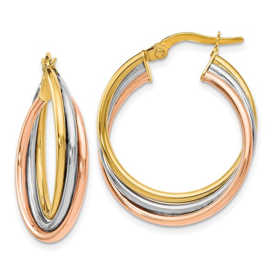 14K Tri-color Polished and Textured Twisted Hoop Earrings - 22 mm