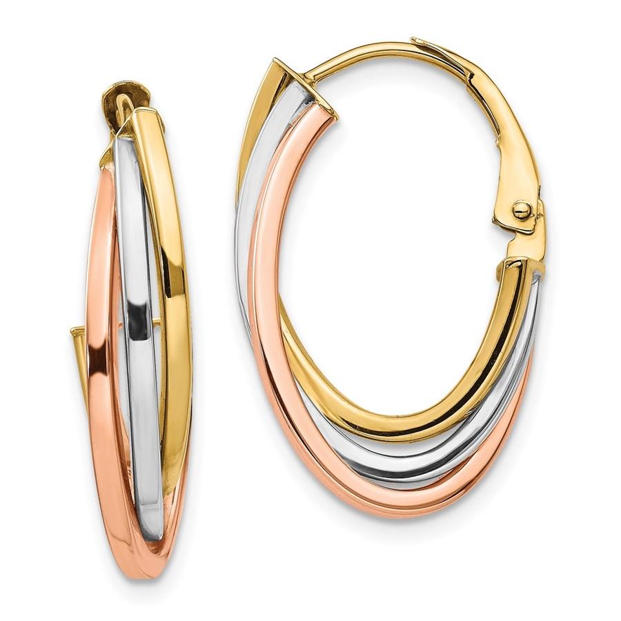 14K Tri-color Polished Hoop Earrings - 26.14 mm