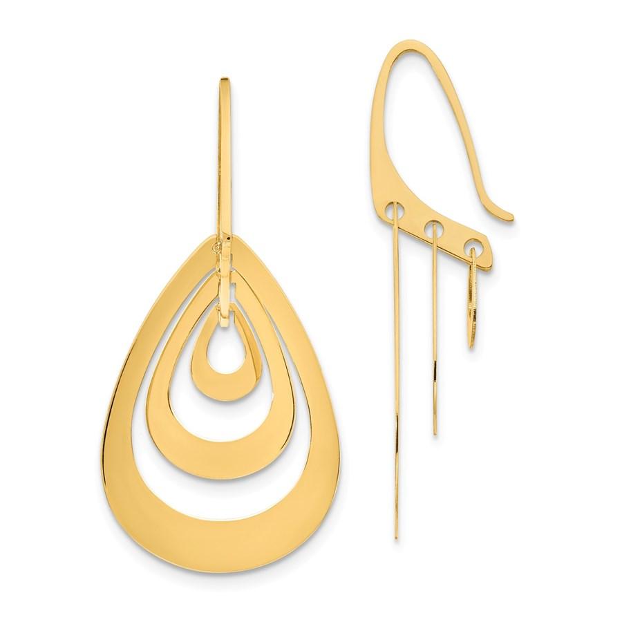 14k Triple Teardrop Dangle Earrings