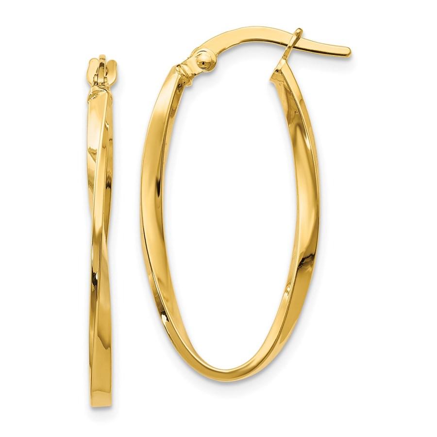 14K Twisted Oval Hoop Earrings - 30 mm