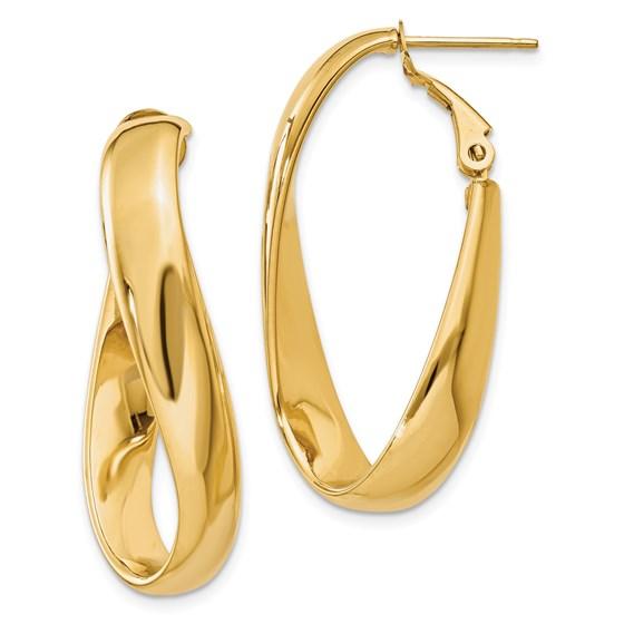 14k Twisted Oval Hoop Earrings