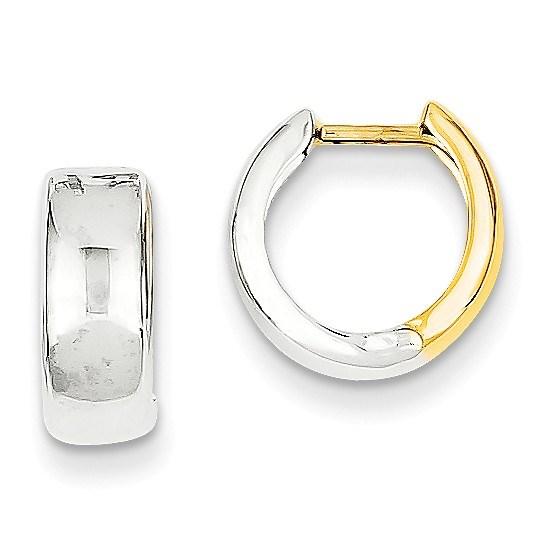 14k Two-tone 10 mm Hinged Hoop Earrings