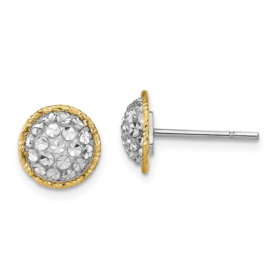 14K Two-tone D/C Button Post Earrings - 9.4 mm