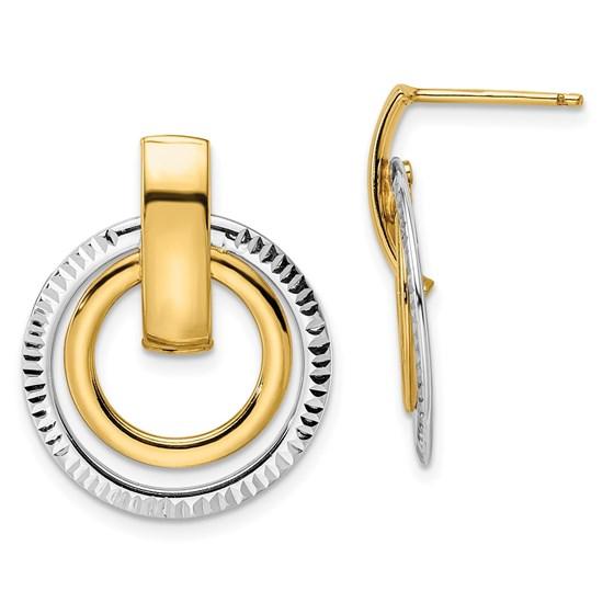 14K Two-tone D/C Post Dangle Earrings - 24.5 mm