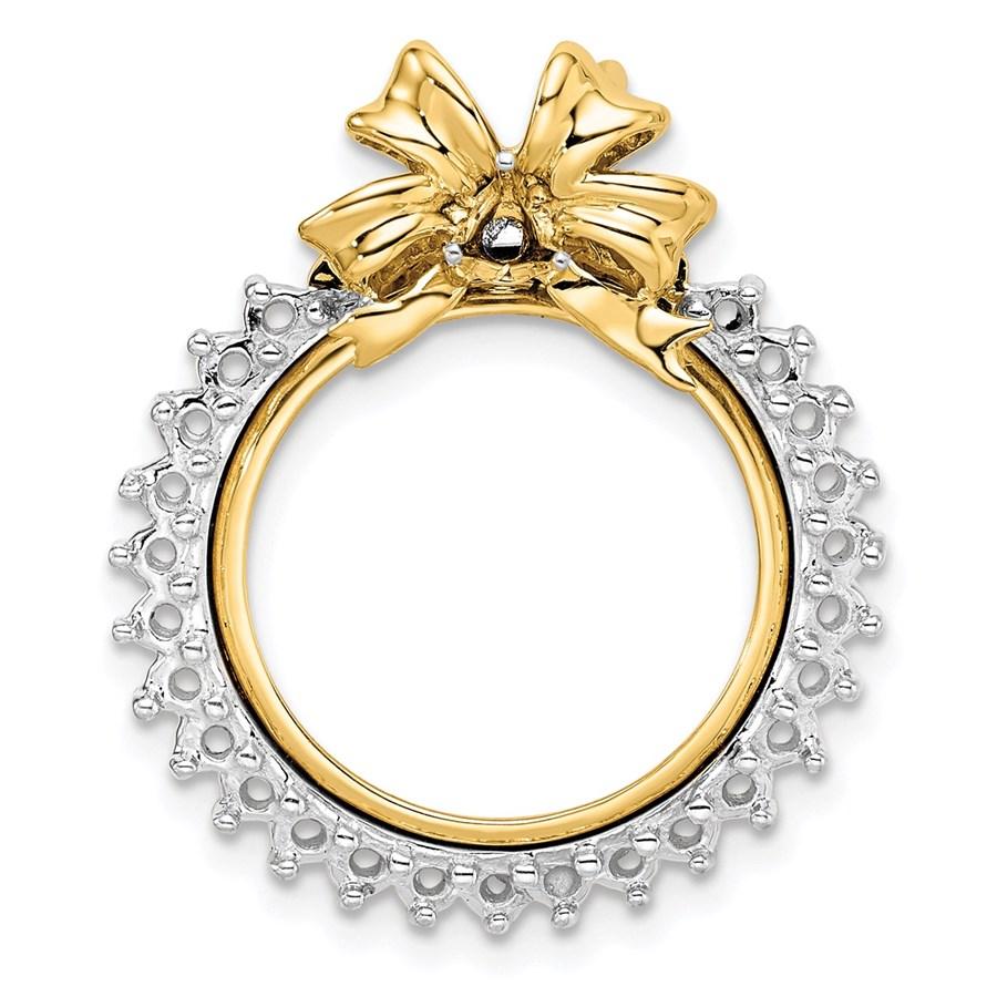 14K Two-tone Diamond Bow 16.5 mm Prong Coin Bezel Chain Slide Mtg