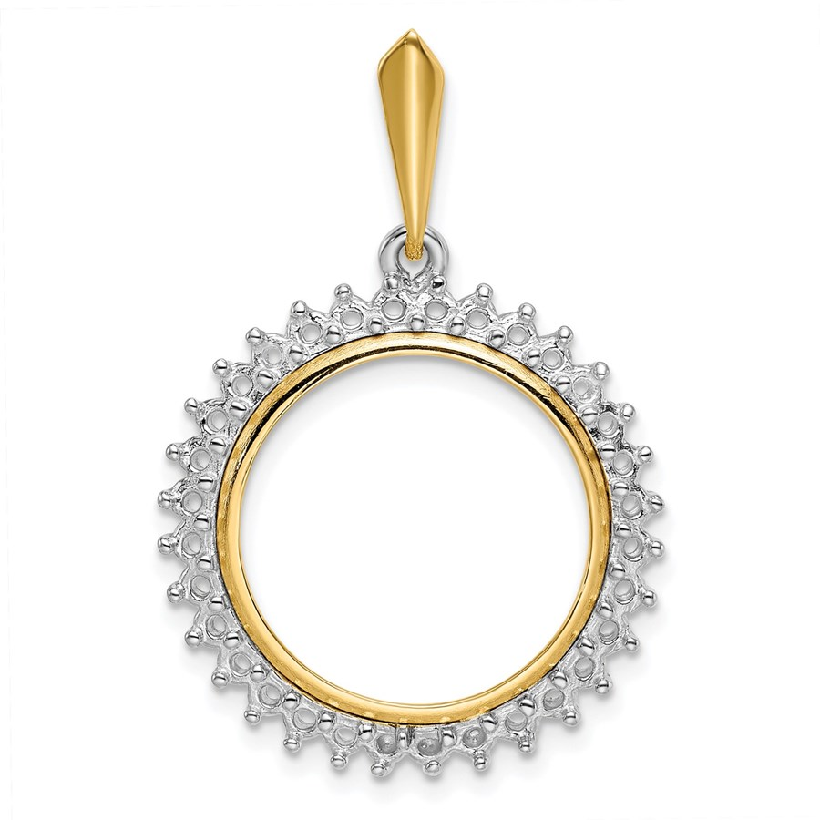 14K Two-tone Diamond Circle 18 mm Prong Coin Bezel Pendant