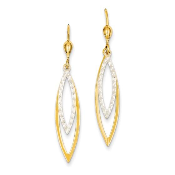 14k Two-tone Diamond-cut Leverback Earrings