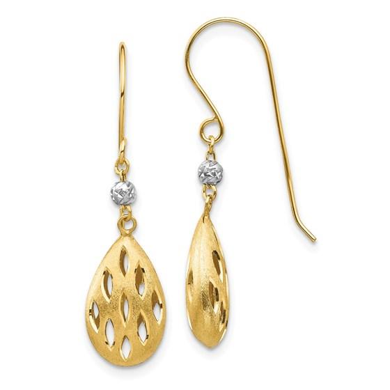 14k Two-Tone Diamond Cut Teardrop Dangle Earrings