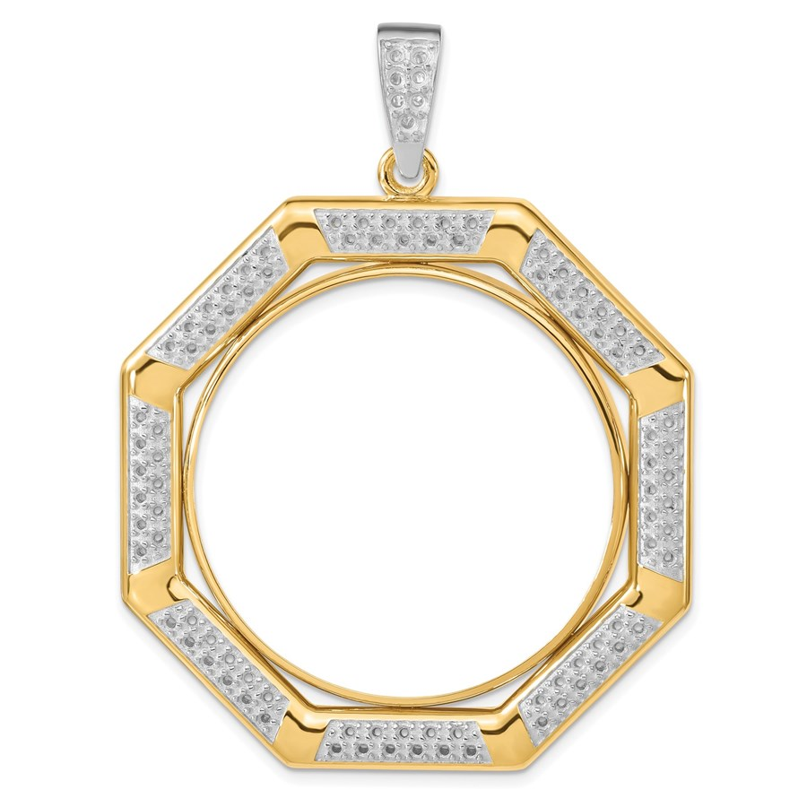 14K Two-tone Diamond Octagonal 34.2 mm Prong Coin Bezel Mtg