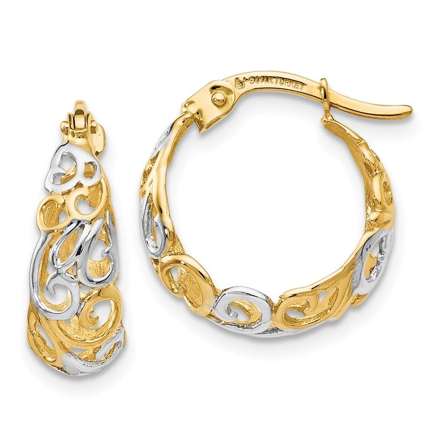14K Two-tone Gold Earrings - 16 mm