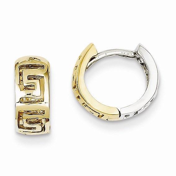 14k Two-tone Greek Key Hinged Hoop Earrings