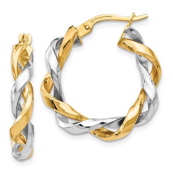 14K Two-tone Hoop Earrings - 24 mm