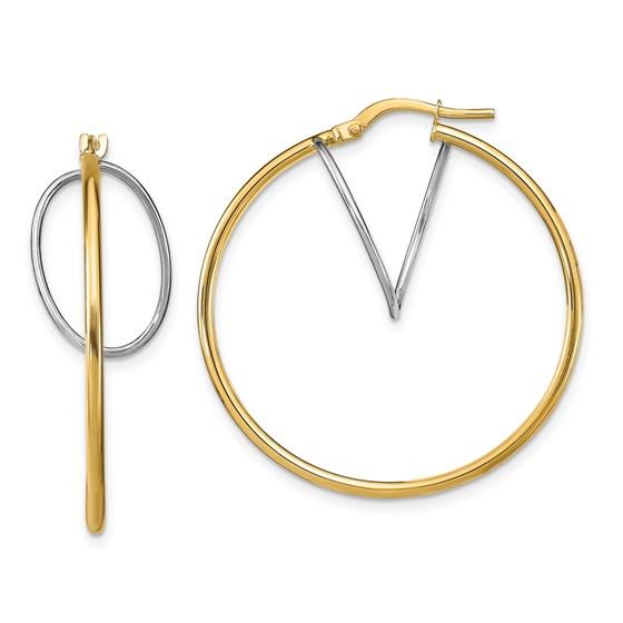14K Two-Tone Hoop Earrings - 33.87 mm