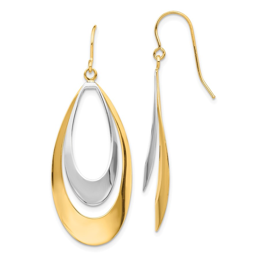 14k Two-tone Oval Dangle Earrings