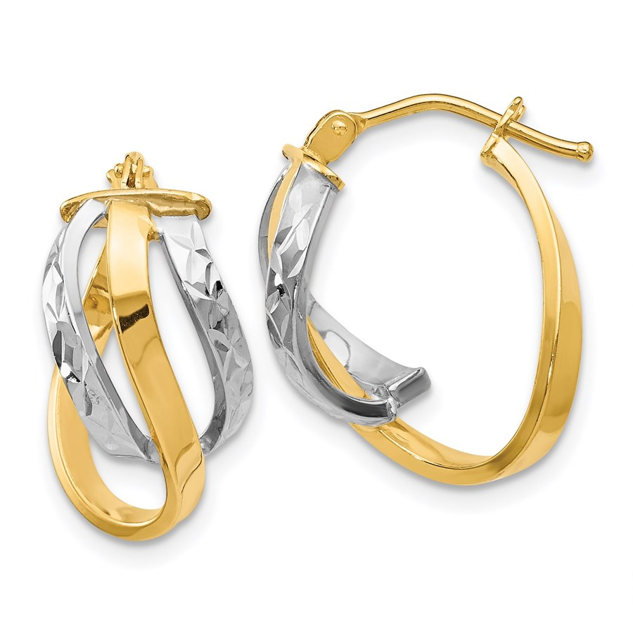 14K Two-tone Polished and D/C Oval Hinged Hoop Earrings - 17 mm