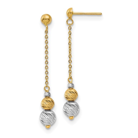 14K Two-tone Polished and Textured Dangle Earrings - 42 mm