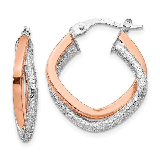 14K Two-tone Polished and Textured Hinged Hoop Earrings - 22 mm