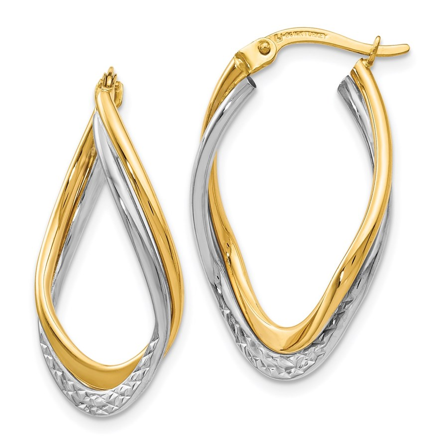 14K Two-tone Polished and Textured Oval Hoop Earrings - 29 mm