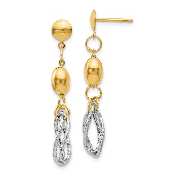 14K Two-tone Polished and Textured Post Dangle Earrings - 36 mm