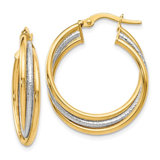 14K Two-tone Polished and Textured Twisted Hoop Earrings - 23 mm