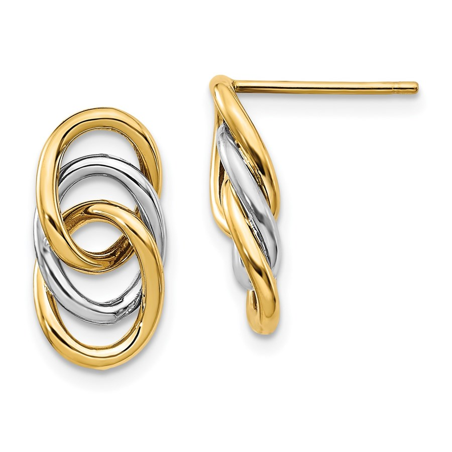 14K Two-tone Polished Circles Post Earrings - 15 mm
