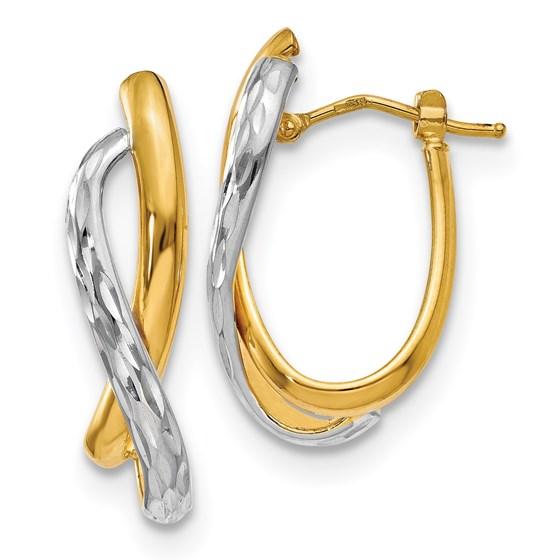 14K Two-tone Polished & D/C Earrings - 26 mm