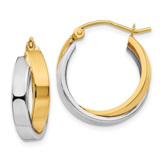 14k Two-tone Polished Double Hoop Earrings
