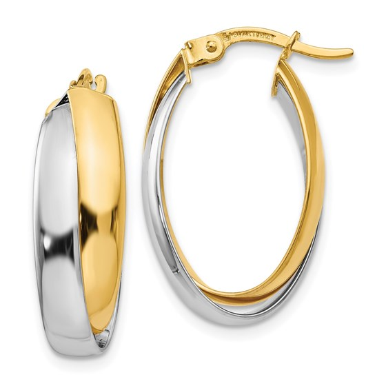 14K Two-tone Polished Double Oval Hoop Earrings - 23 mm