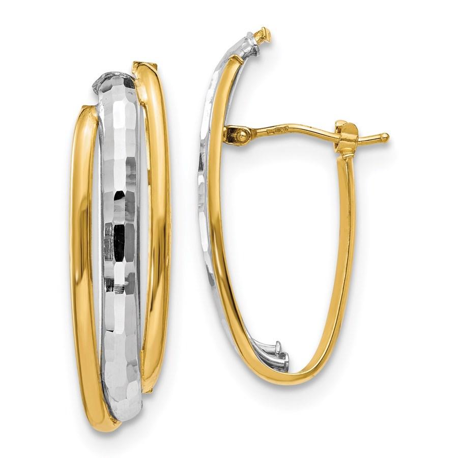14K Two-tone Polished Earrings - 32.5 mm