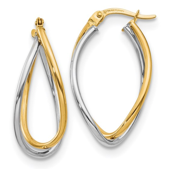 14K Two-tone Polished Fancy Earrings - 29 mm