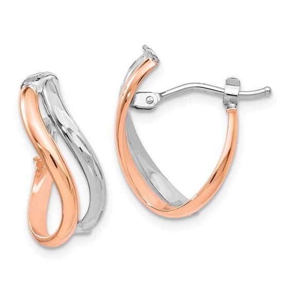 14K Two-tone Polished Hinged Hoop Earrings - 16 mm