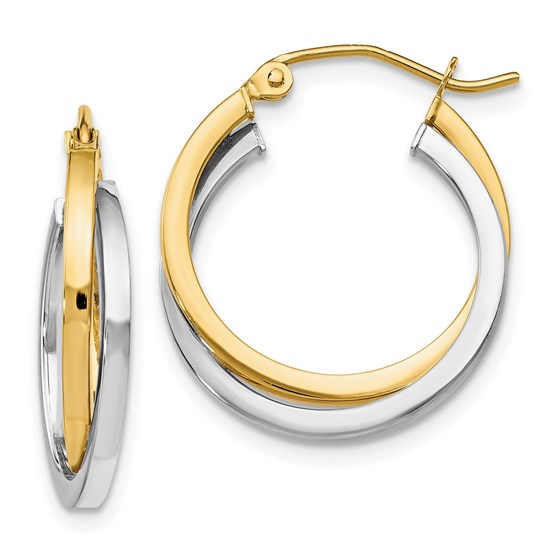 14K Two-tone Polished Hinged Hoop Earrings - 20 mm