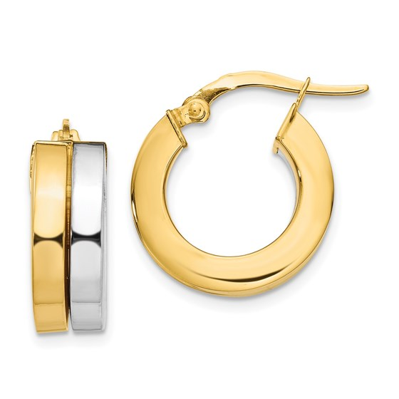 14K Two-tone Polished Hoop Earrings - 18 mm