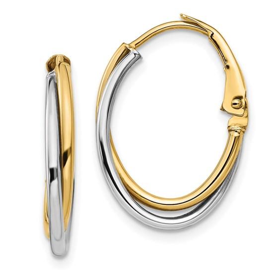 14K Two-tone Polished Hoop Earrings - 21.7 mm