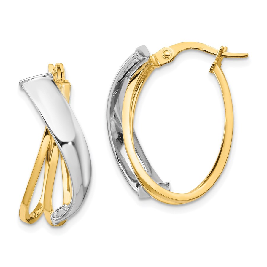 14K Two-tone Polished Oval Hoop Earrings - 23 mm