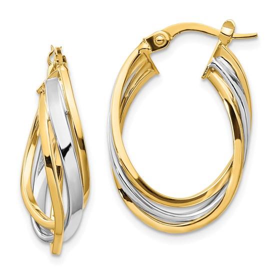 14K Two-tone Polished Oval Hoop Earrings - 25 mm