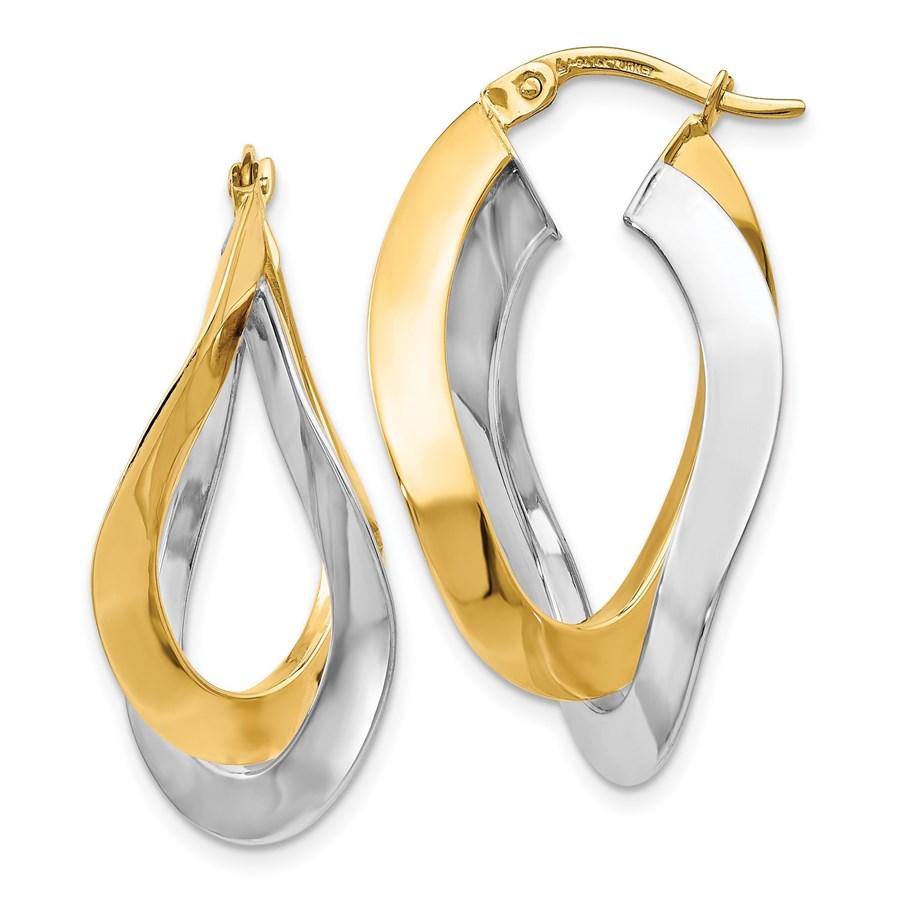 14K Two-tone Polished Oval Twisted Hoop Earrings - 34 mm