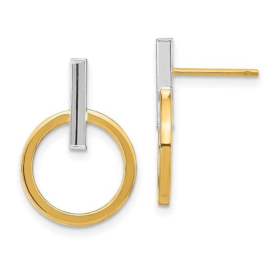 14K Two-tone Polished Post Dangle Earrings - 18.09 mm