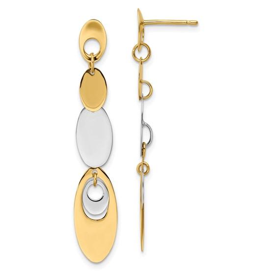 14K Two-tone Polished Post Dangle Earrings - 45.5 mm
