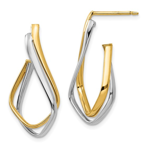 14K Two-tone Polished Post Earrings - 28.58 mm