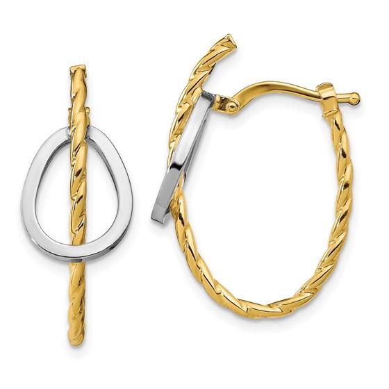 14K Two-tone Polished Textured Hoop Earrings - 27.4 mm