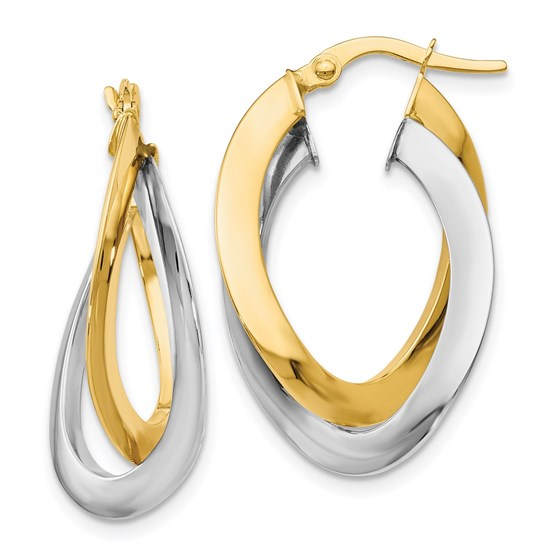 14K Two-tone Polished Twisted Double Hoop Earrings - 27 mm