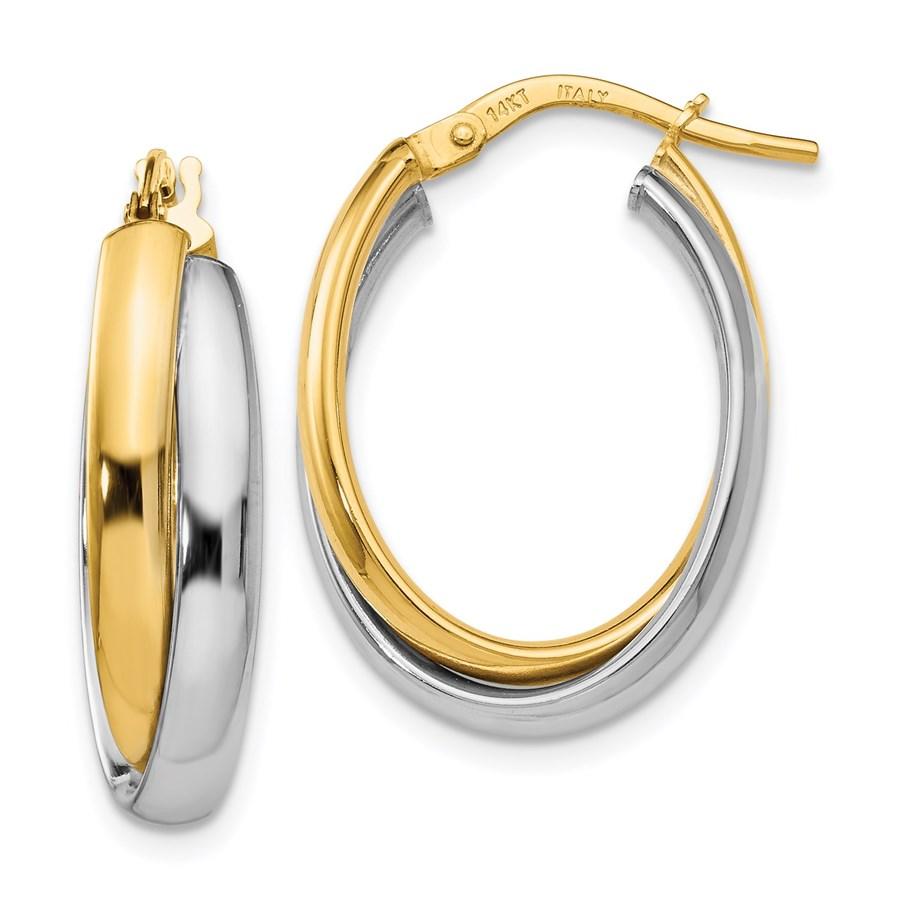 14K Two-tone Polished Twisted Hinged Hoop Earrings - 23 mm