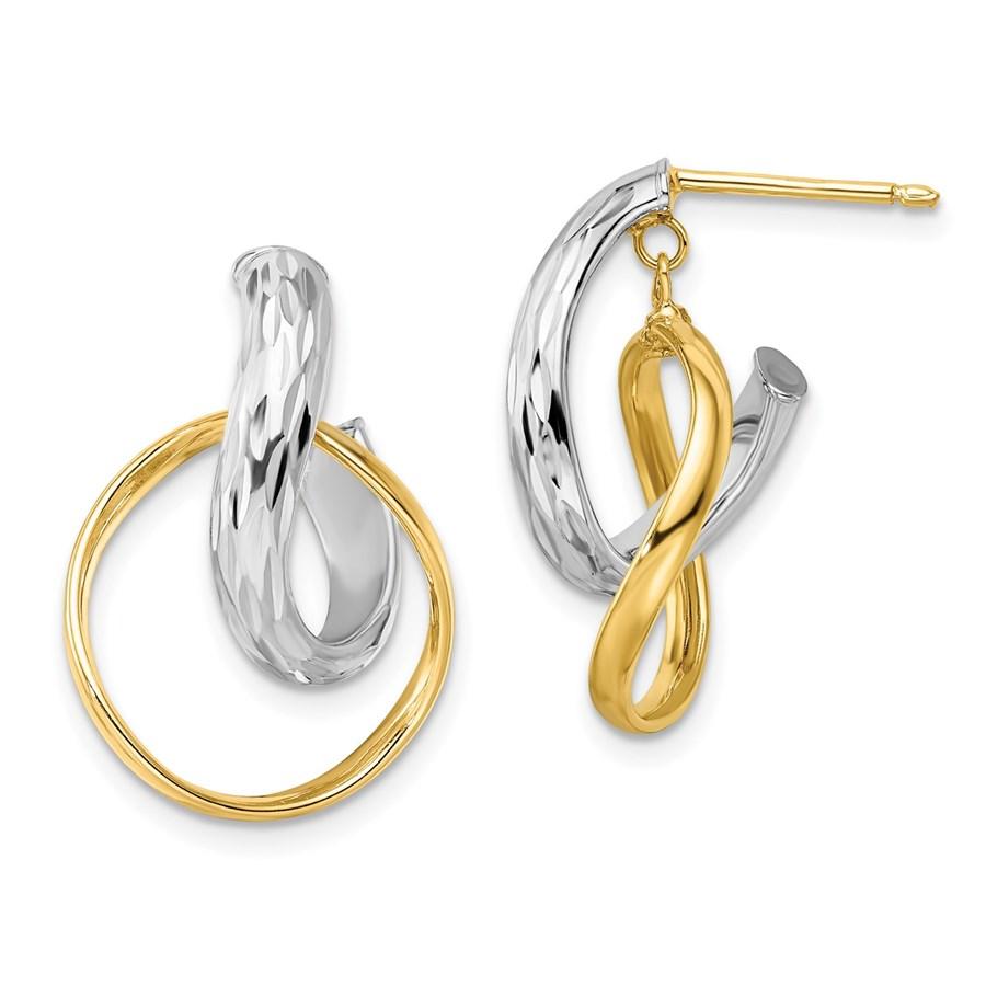 14K Two-tone Polished Twisted Hoop Earrings - 22 mm